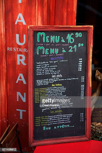 restaurant menu board, Paris