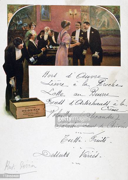 Restaurant menu handwritten on a publicity card for Heidsieck Champagne showing men and women enjoying a predinner glass of Champagne late 19th...