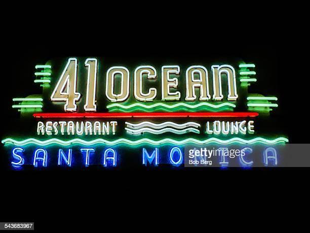 Santa Monica Ca March 9 2015 A restaurant neon sign at night