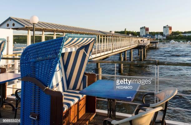 Restaurant on the Pier German resort architecture in the seaside resort Heringsdorf on the island of Usedom EuropeGermany MecklenburgWestern...