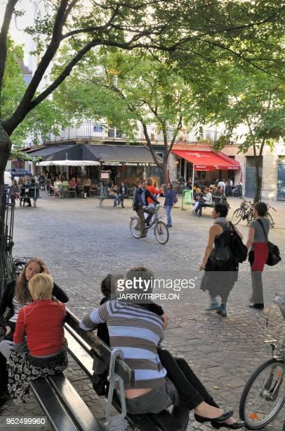 Restaurant on the Place du Marche Sainte Catherine the Marais district in the 4th arrondissement in Paris Ile de France region France