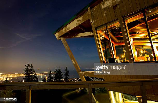 A restaurant on the top of Grouse Mountain looks over the city of Vancouver British Columbia Canada on Thursday Nov 10 2011 Vancouver a coastal...