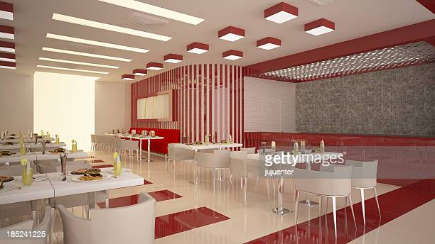 Restaurant or diner decorated in white and red