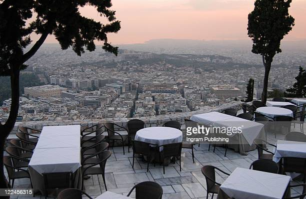 A restaurant overlooking the city of Athens, Greece