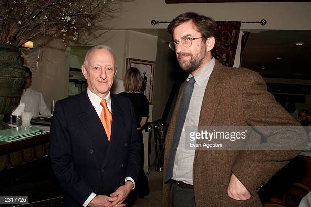 """Restaurant owner Arrigo Cipriani with Italian director Nanni Moretti at the screening after-party for """"The Son's Room"""" at Cipriani Downtown in New..."""