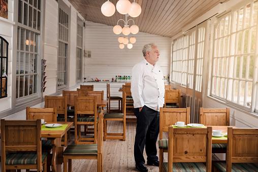 Restaurant owner standing in his empty restaurant. 1212953197