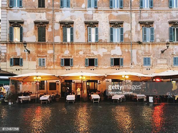 Restaurant patio at Piazza Santa Maria in Trastevere, Rome, Italy