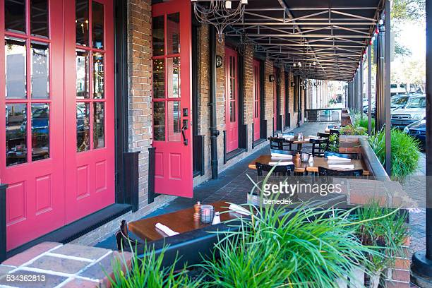 restaurant patio, gainesville, florida - gainesville florida stock photos and pictures