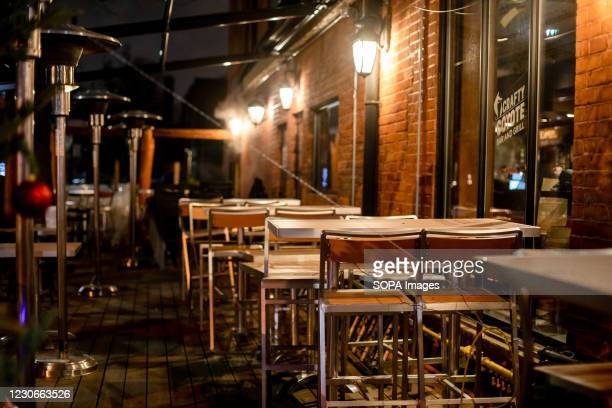 Restaurant patios are empty, due to the COVID-19 lockdown measures.