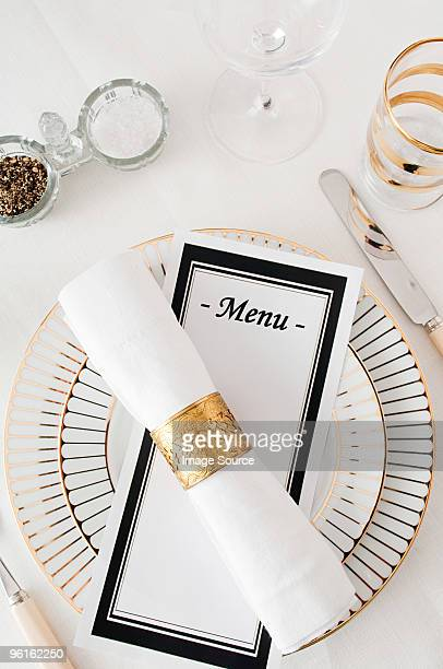 restaurant place setting - menu stock pictures, royalty-free photos & images