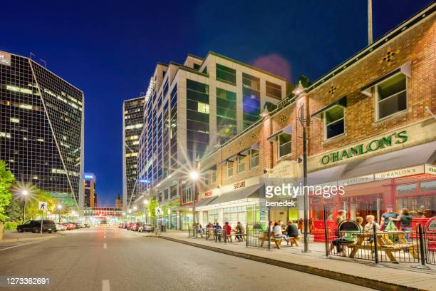 restaurant pub patios in downtown regina saskatchewan canada - the americas stock pictures, royalty-free photos & images
