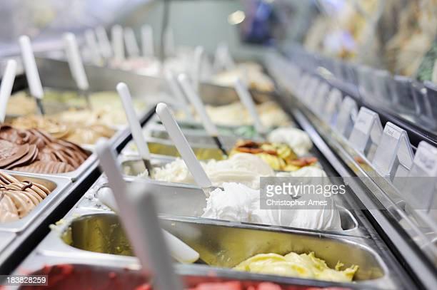 A restaurant refrigerator full of Italian ice creams