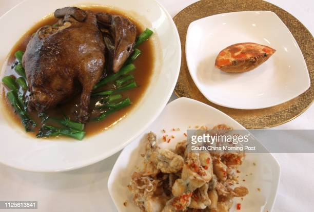 Steamed duck with various fillings Deepfried frog leg with garlic and chilli AND Baked stuffed crab shell with onion and crab meat Seventh Son...