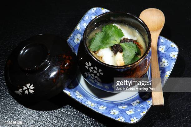 """Restaurant Review for weekly magazine 48 hours - dish shoot of """"Lobster Chawanmushi"""" at Three Monkeys in Sheung Wan. 12APR13"""