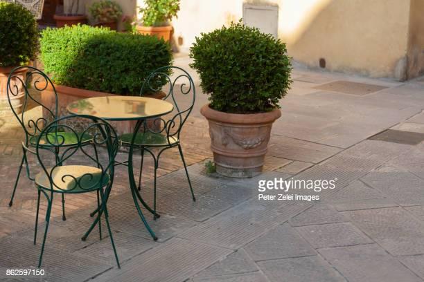 Restaurant table in an italian town