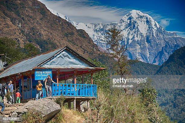 CONTENT] Restaurant with view photo taken while trekking to Poon Hill Annapurna Nepal