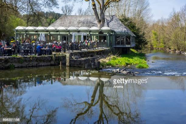 Restaurantbrasserie Le Pavillon along the river Lesse at the estate of the Caves of HansurLesse / Grottes de Han Belgian Ardennes Belgium