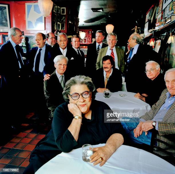Restauranteur Elaine Kaufman and George Plimpton, Josh Gaspero, David Black, A. E. Hotchner, Lewis Lapham, Frederick Seidel, Father Pete Colapietro,...