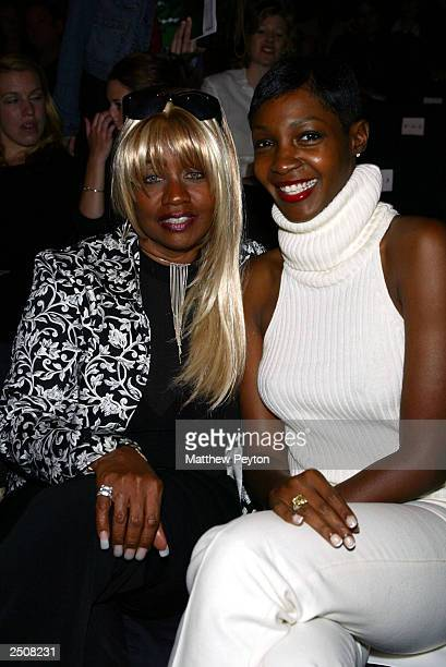 Restauranteur Janice Combs and TV host Roshumba wear 10 K diamond rings at the Carmen Marc Valvo Spring/Summer 2004 Collection at Bryant Park during...