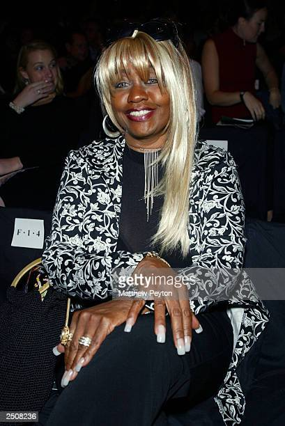 Restauranteur Janice Combs wears 10 K diamond ring designed by Carmen Marc Valvo at the Carmen Marc Valvo Spring/Summer 2004 Collection at Bryant...