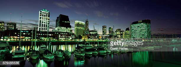 Restaurants and cafes at dusk, waterfront area of Puerto Madero, Buenos Aires, Argentina, South America