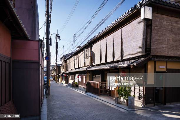 Restaurants and teahouses on an alleyway in Gion
