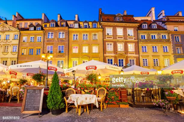 Restaurants at Old Town Market Place in Warsaw Poland