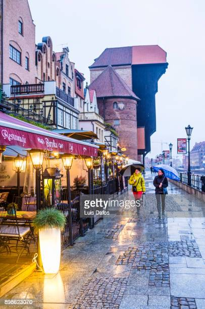 restaurants at the gdansk waterfront - motlawa river stock pictures, royalty-free photos & images