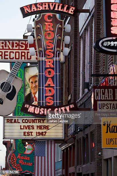 Restaurants bars and music venues on Broadway in Nashville