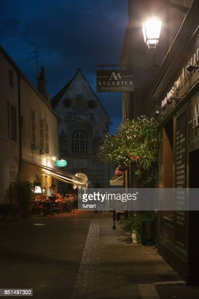 Restaurants in an Alley of Beaune, France