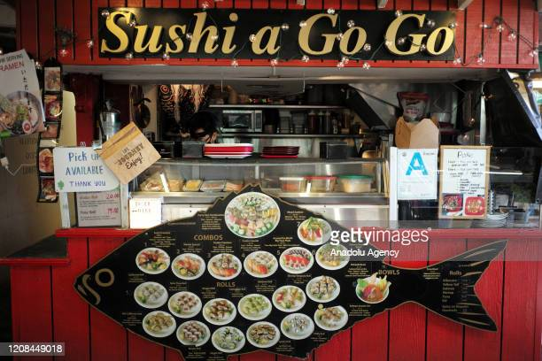 Restaurants in LA famous Farmers Market on Fairfax still open for take away orders due to the new type of coronavirus in Los Angeles, United States...
