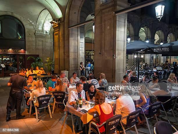 Restaurants in Plaça Reial, Barcelona.
