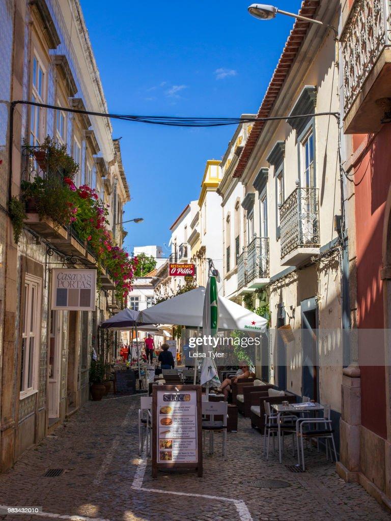 Restaurants On A Back Street In Tavira A Moorish Built Town On The