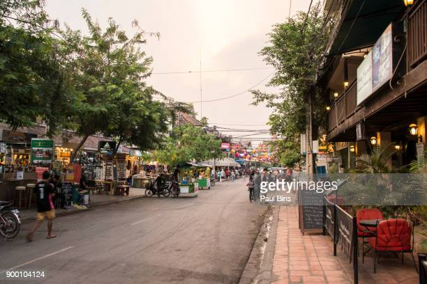 restaurants on pub street, siem reap, cambodia, indochina, southeast asia, asia - south east asia stock pictures, royalty-free photos & images
