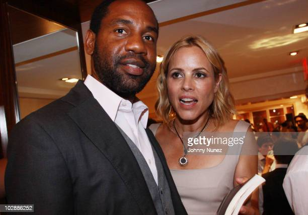 Restaurateur and club owner Unik Ernest and actress Maria Bello attend Judith Leiber's Haiti Pendant Initiative on July 13 2010 in New York City
