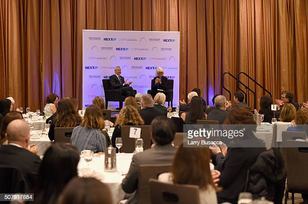 Restaurateur Daniel Meyer speaks onstage with Editorial director of Hearst Magazines Ellen Levine at the American Magazine Media Conference at Grand...