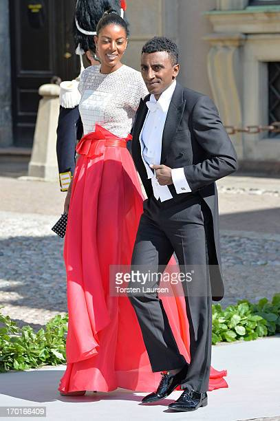 Restaurateur Marcus Samuelsson and wife Maya Haile attend the wedding of Princess Madeleine of Sweden and Christopher O'Neill hosted by King Carl...