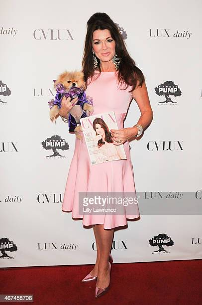 Restaurateur/Television Personality Lisa Vanderpump with her dog Giggy arrives at CVLUX Magazine Issue Release Party at Pump on March 24 2015 in West...