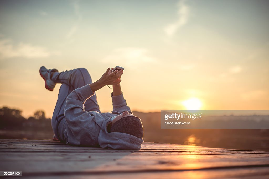 Resting and enjoy the sunset : Stock Photo