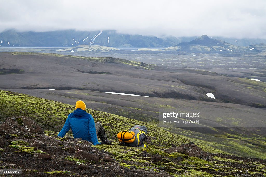 Resting hiker in Iceland's highland : Stock Photo