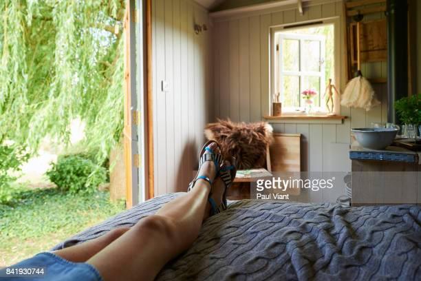resting in garden hut