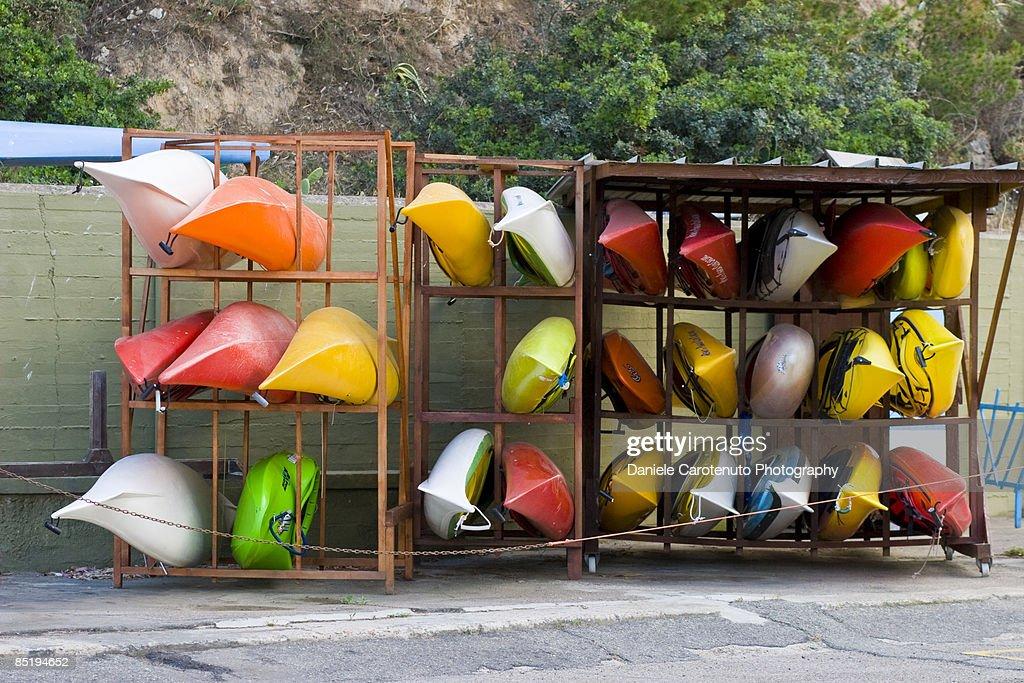 Resting kayaks : Stock Photo