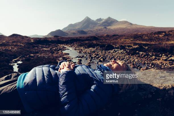 resting on sligachan bridge, isle of skye, scotland - sunlight stock pictures, royalty-free photos & images