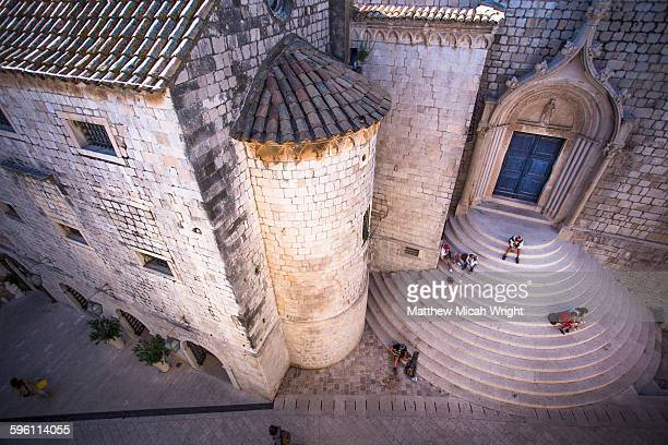 Resting on the castle steps of Dubrovnik.