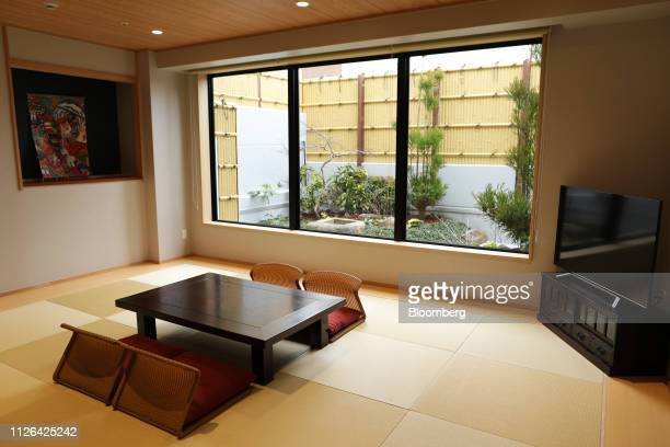 Resting room with tatami flooring is seen inside the Solaniwa Onsen spa at Osaka Bay Tower during a media tour in Osaka, Japan, on Thursday, Feb. 21,...