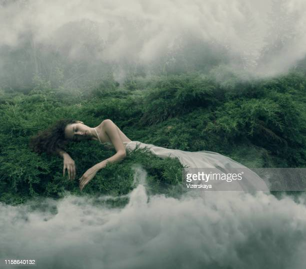 resting women in foggy bush - dreamlike stock pictures, royalty-free photos & images