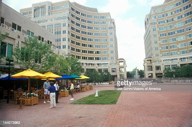Reston VA town center with pedestrians