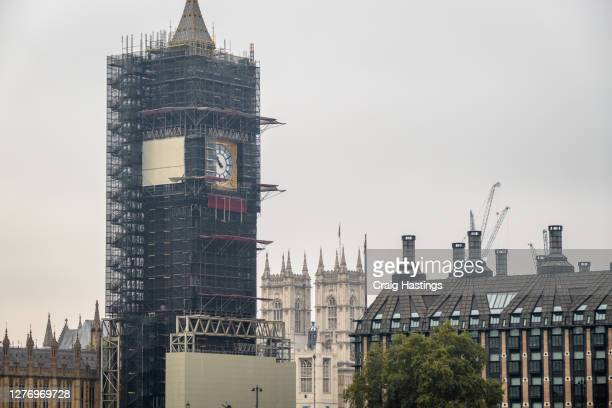 restoration cityscape scene of the house of parliament, elizabeth tower, better known as big ben in london uk - former stock pictures, royalty-free photos & images