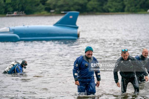 Restoration engineer Bill Smith is all smiles after the first test of Donald Campbell's iconic Bluebird travelling on the waters of Loch Fad for the...