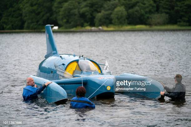 Restoration engineer Bill Smith prepares for the first test of Donald Campbell's iconic Bluebird travelling on the waters of Loch Fad for the first...